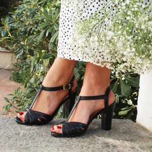 vue posee sandales talon brides cuir noir jules & jenn