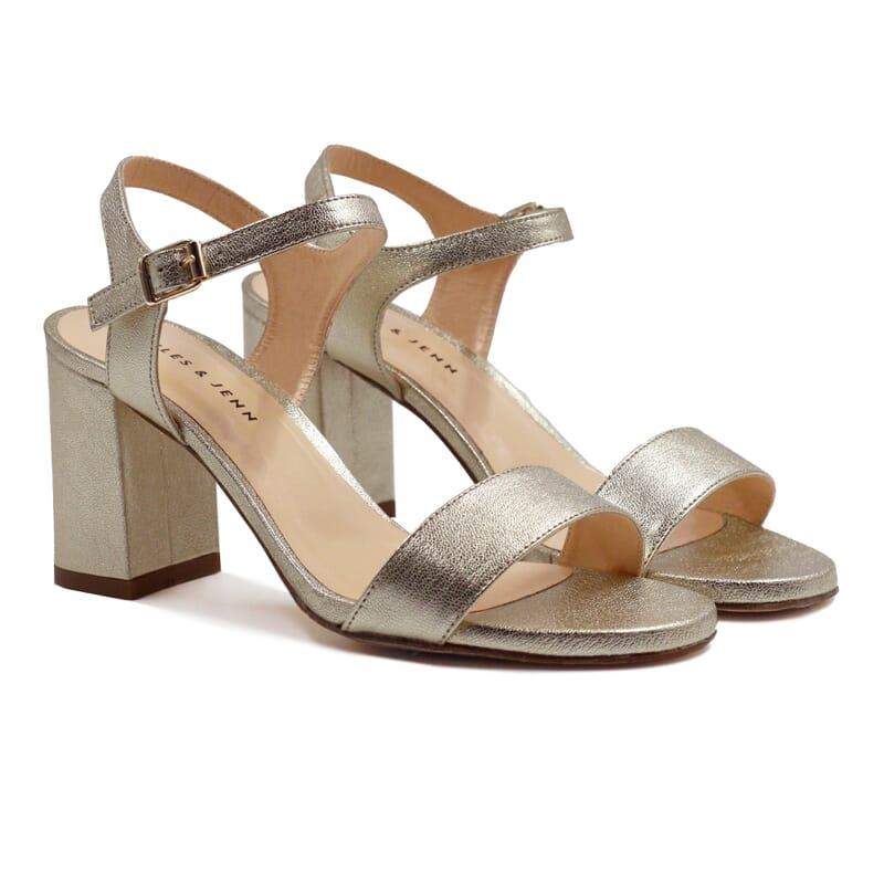 sandales à talon cuir métallisé doré JULES & JENN