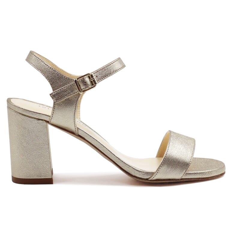 vue extérieur sandales à talon cuir métallisé doré JULES & JENN