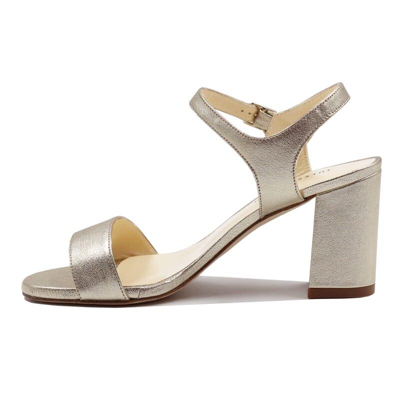 vue intérieur sandales à talon cuir métallisé doré JULES & JENN