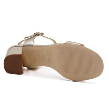 vue dessous sandales à talon cuir métallisé doré JULES & JENN