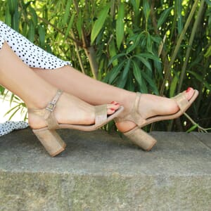 vue posee sandales talon cuir metallise dore jules & jenn