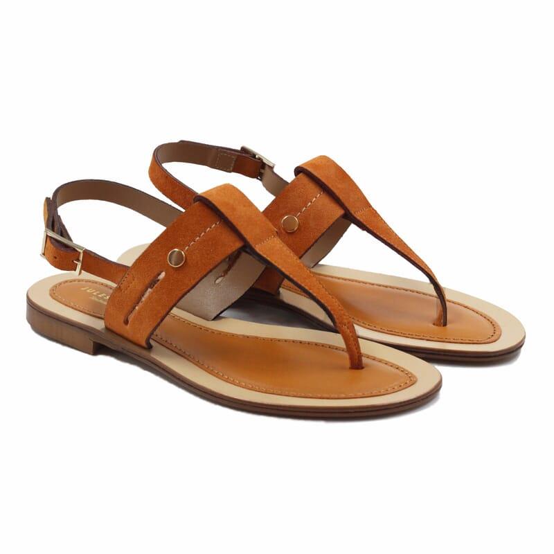 sandales tropéziennes cuir daim camel jules & jenn