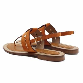 vue arriere sandales tropéziennes cuir daim camel jules & jenn