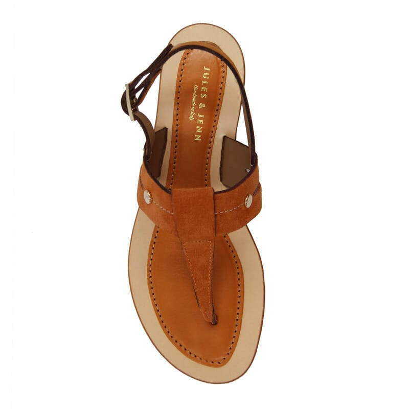vue dessus sandales tropéziennes cuir daim camel jules & jenn