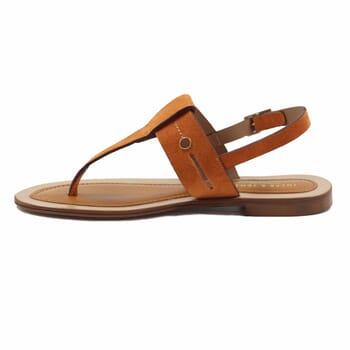 vue interieur sandales tropéziennes cuir daim camel jules & jenn
