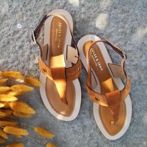 vue portee sandales tropéziennes cuir daim camel jules & jenn