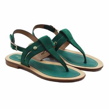 sandales tropéziennes cuir daim vert jules & jenn