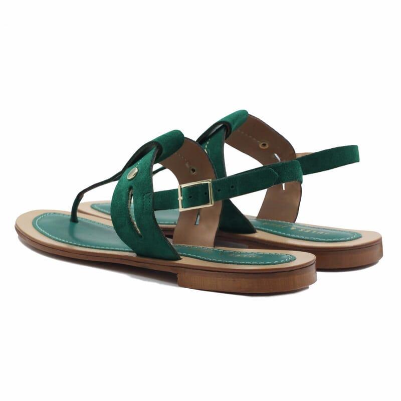 vue arriere sandales tropéziennes cuir daim vert jules & jenn