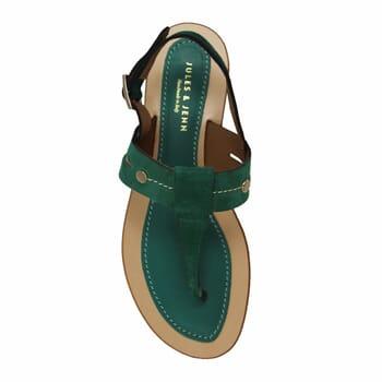 vue dessus sandales tropéziennes cuir daim vert jules & jenn