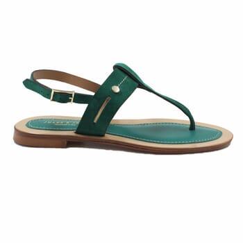 vue exterieur sandales tropéziennes cuir daim vert jules & jenn