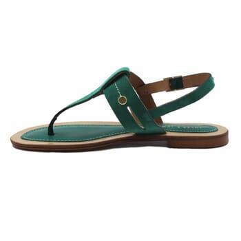 vue interieur sandales tropéziennes cuir daim vert jules & jenn