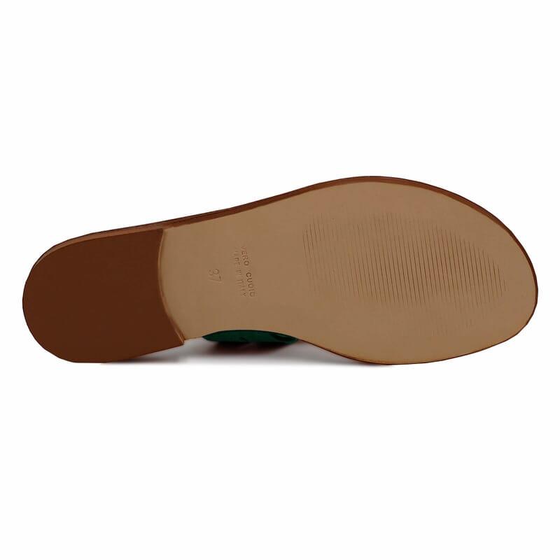 vue dessous sandales tropéziennes cuir daim vert jules & jenn