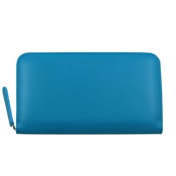 Pochette cuir grainé métallisé bleu clair
