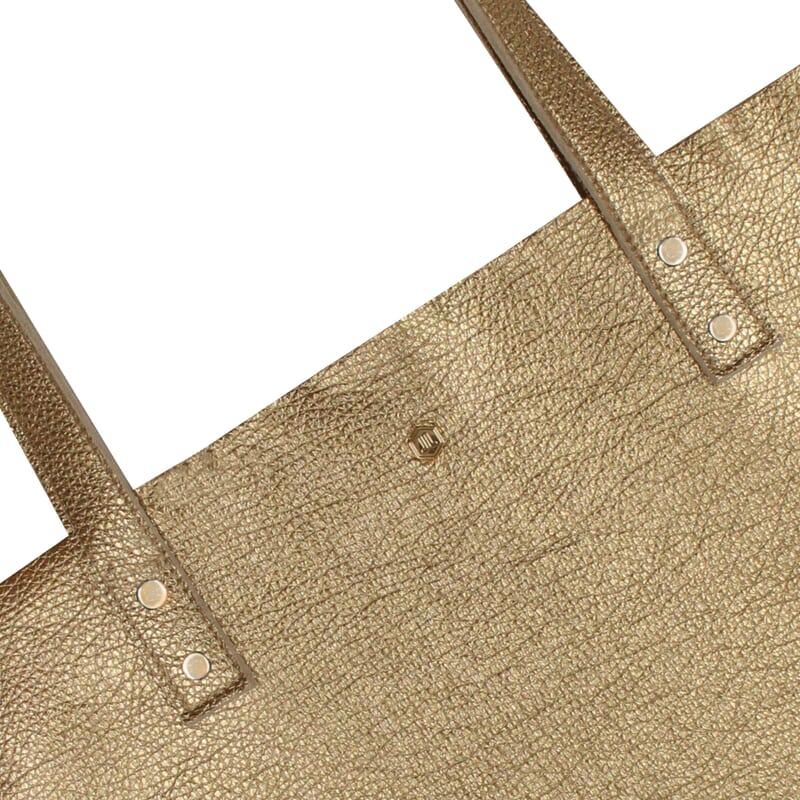 vue zoomee sac cabas plat cuir graine dore jules & jenn
