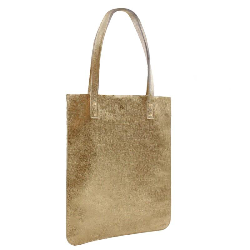 vue cote sac cabas plat cuir graine dore jules & jenn