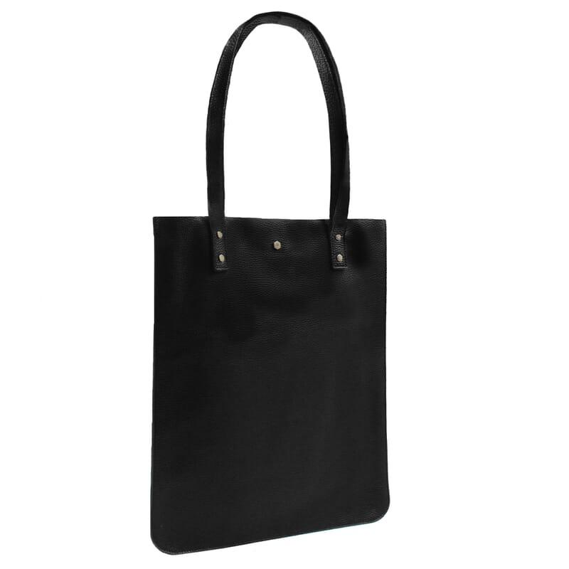 vue cote sac cabas plat cuir graine noir jules & jenn