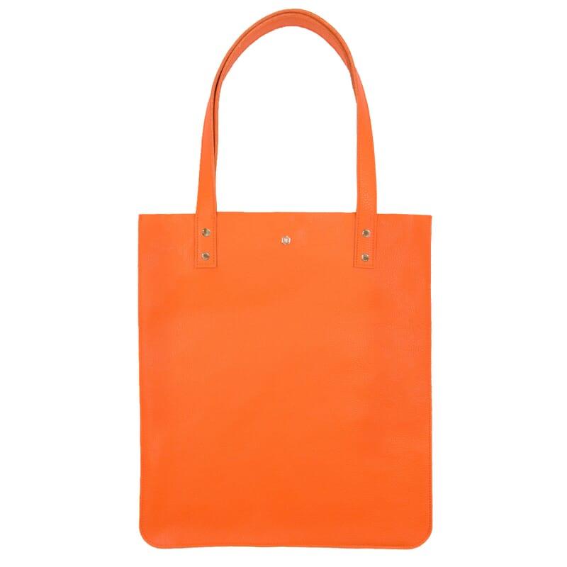 sac cabas plat cuir graine orange jules & jenn