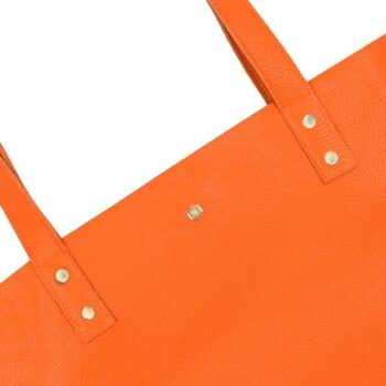 vue zoomee sac cabas plat cuir graine orange jules & jenn