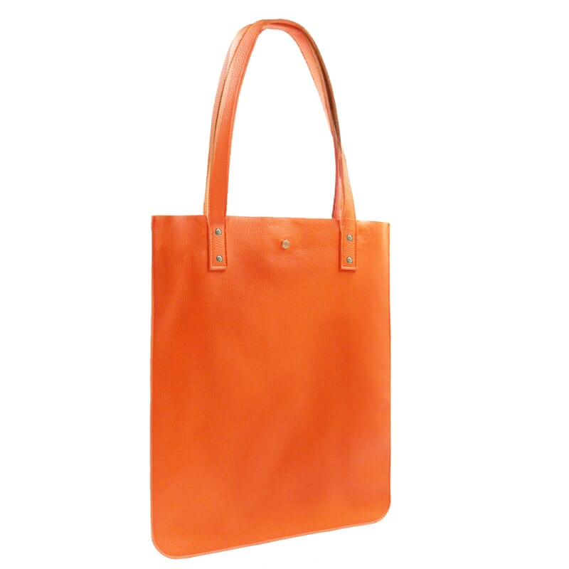 vue cote sac cabas plat cuir graine orange jules & jenn