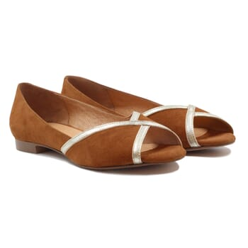 ballerines bout ouvert cuir velours camel jules & jenn