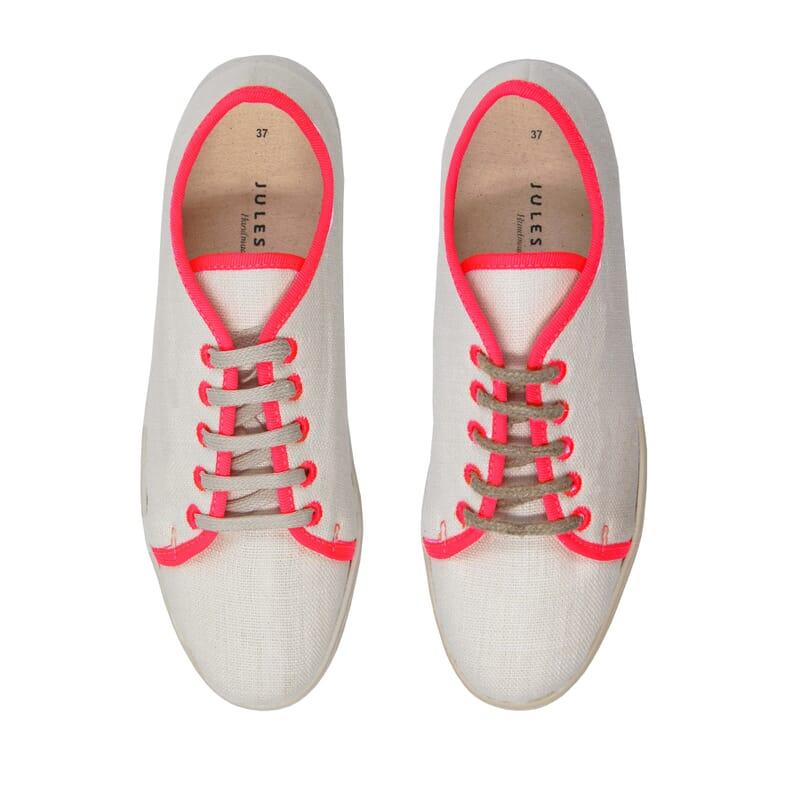 vue dessus baskets lin blanc rose jules & jenn