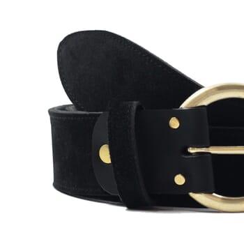 vue serree ceinture boheme cuir daim noir jules & jenn