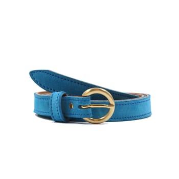 ceinture boucle d or cuir daim bleu azur jules & jenn