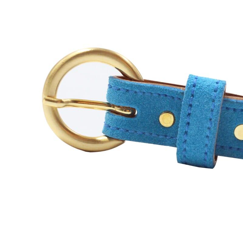 vue boucle ceinture boucle d or cuir daim bleu azur jules & jenn