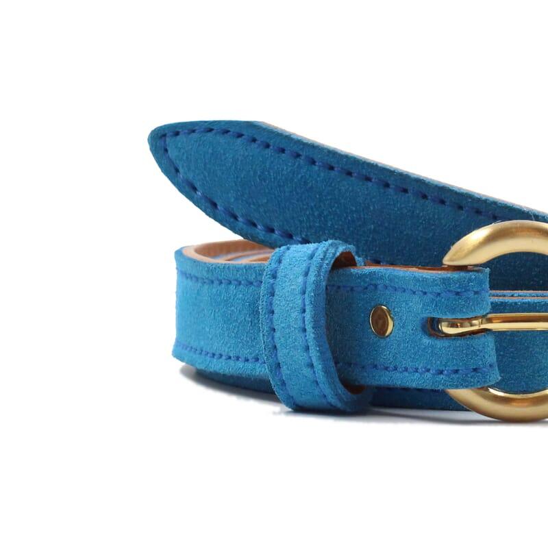 vue serree ceinture boucle d or cuir daim bleu azur jules & jenn