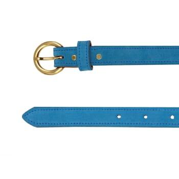 vue dessus ceinture boucle d or cuir daim bleu azur jules & jenn