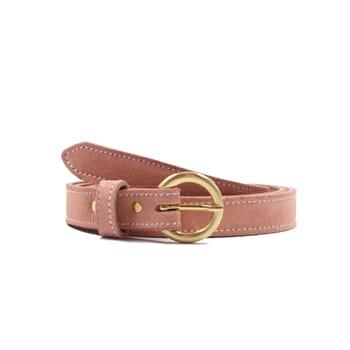 ceinture boucle d'or cuir daim rose jules & jenn