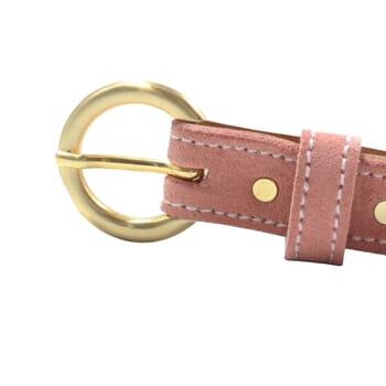 vue boucle ceinture boucle d'or cuir daim rose jules & jenn