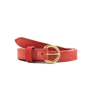 ceinture boucle d'or cuir daim rouge jules & jenn