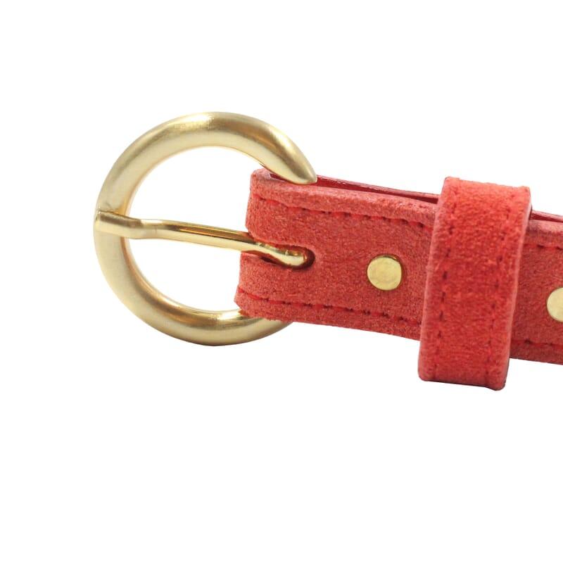 vue boucle ceinture boucle d'or cuir daim rouge jules & jenn