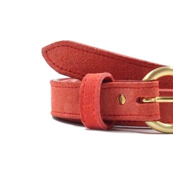 vue serree ceinture boucle d'or cuir daim rouge jules & jenn