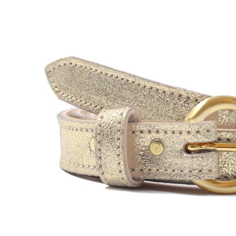 vue serree ceinture boucle or cuir dore metallise jules & jenn