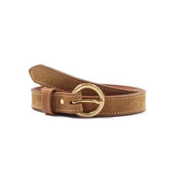 ceinture boucle or cuir daim camel jules & jenn