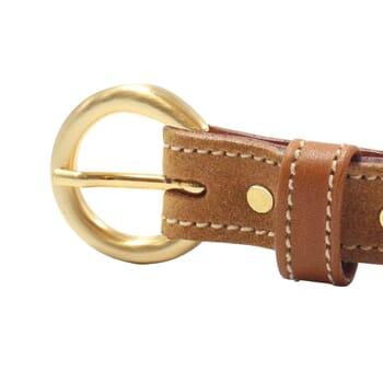vue boucle ceinture boucle or cuir daim camel jules & jenn