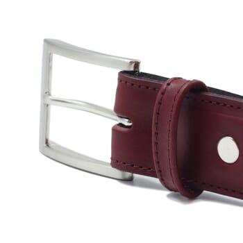 vue boucle ceinture classique cuir bordeaux jules & jenn