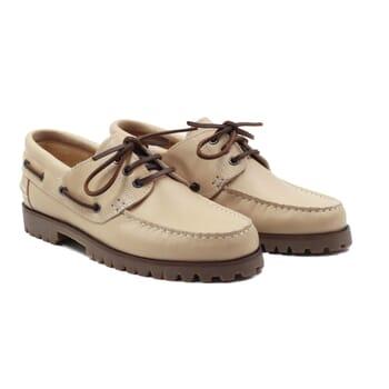 chaussure bateau crampons cuir beige jules & jenn