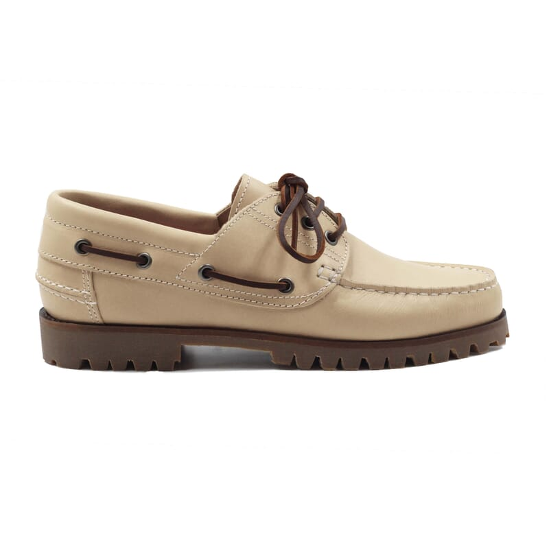vue exterieur chaussure bateau crampons cuir beige jules & jenn