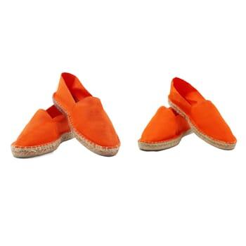 vue mixte espadrilles toile coton orange jules & jenn