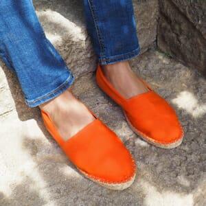 vue portee espadrilles toile coton orange jules & jenn
