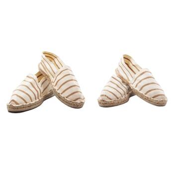 vue mixte espadrilles toile coton rayées beige jules & jenn