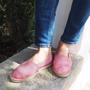 vue portee espadrilles toile coton recyclé rayées rouge jules & jenn