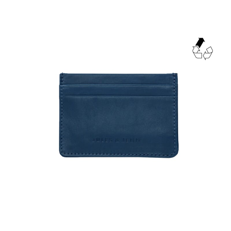 porte-cartes cuir upcyclé bleu jules & jenn
