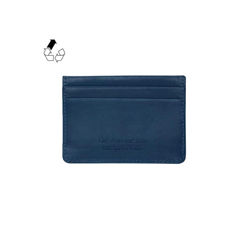 vue arrière porte-cartes cuir upcyclé bleu jules & jenn