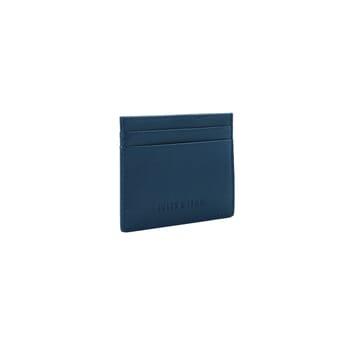vue cote porte-cartes cuir upcyclé bleu jules & jenn