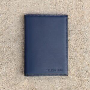 vue posee portefeuille classique cuir upcycle bleu jules & jenn